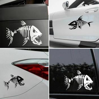 1Pcs Skeleton Fish Boats Stickers PET reflective Graphics Window For Kayak Car Dinghy Fishing Boat Accessories Stickers image