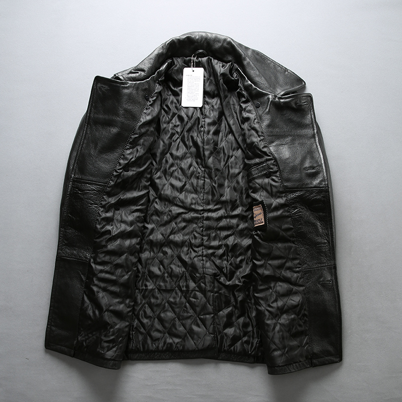 Fly Casula Genuine Men Slim Fit Real Leather Coat Cowskin Turn-down Collar Men' Jacket
