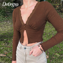 Ladies T-Shirts Crop-Tops Ribbed Long-Sleeve Harajuku Sexy Tee Slim Vintage Autumn Fashion