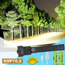 Highest lumen XHP70.2 hunting the most powerful led flashlight USB charging Rain and splash proof with charge display