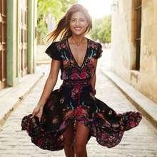 New Summer Ladies Dresses  Popular Palace Women Dress Vintage Print Retro