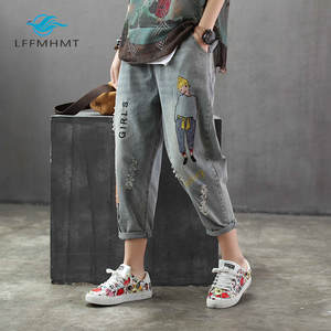Denim Jeans Trousers Harem-Pants Embroidery Hole-Girl Vintage Women Fashion-Brand Ankle-Length