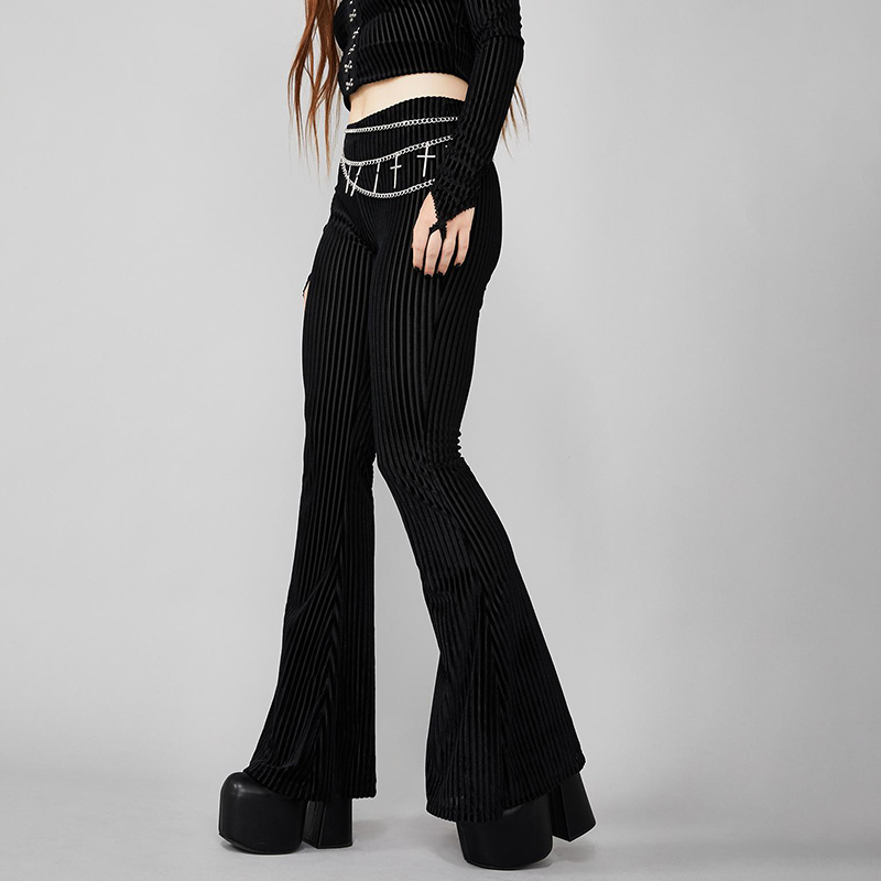 InsGoth High Waist Bodycon Black Flare Pants Women Gothic Streetwear Straip See-through Long Trousers Female Casual Fashion Pant 1