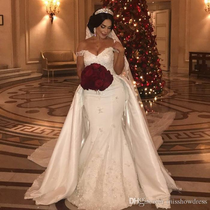 2020 Lace Mermaid Wedding Dresses Off The Shoulder Satin Lace Applique Sweep Train Wedding Bridal Gowns With Detachable Skirt