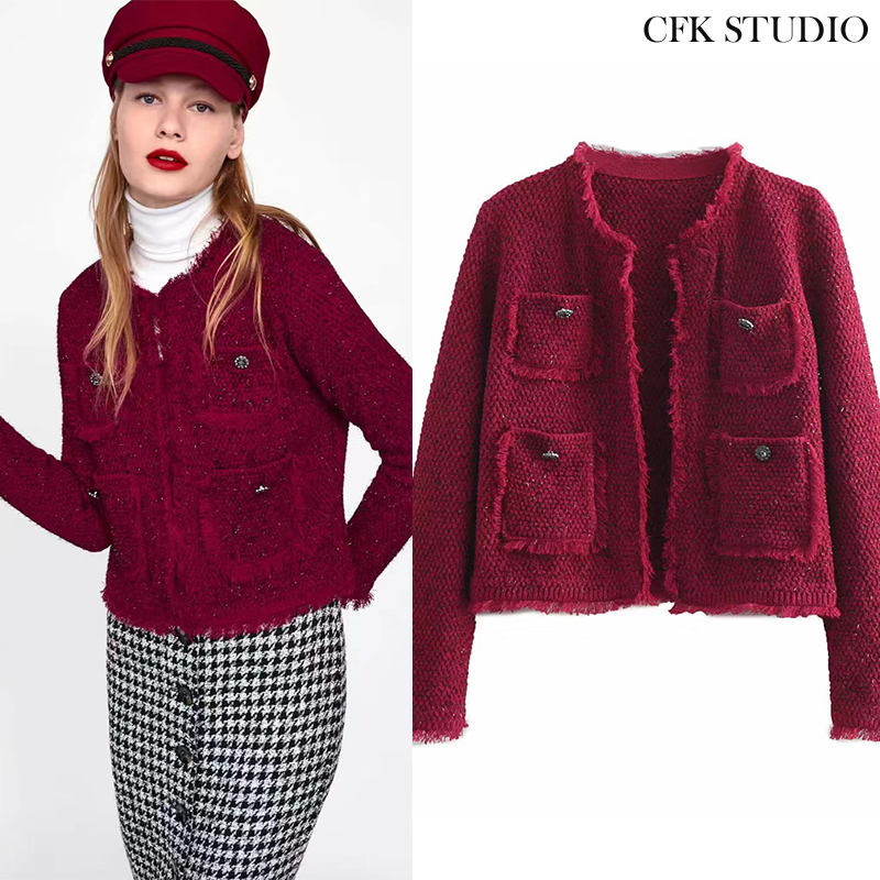 Женское твидовое пальто Za, повседневная элегантная свободная Толстая куртка красного и черного цветов, верхняя одежда для зимы|Пальто| | АлиЭкспресс