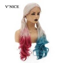 VNICE Harley Quinn วิกผมวิกผมความหนาแน่น 150% เส้นใยทนความร้อนลอนผมยาว Wigs สำหรับคอสเพลย์