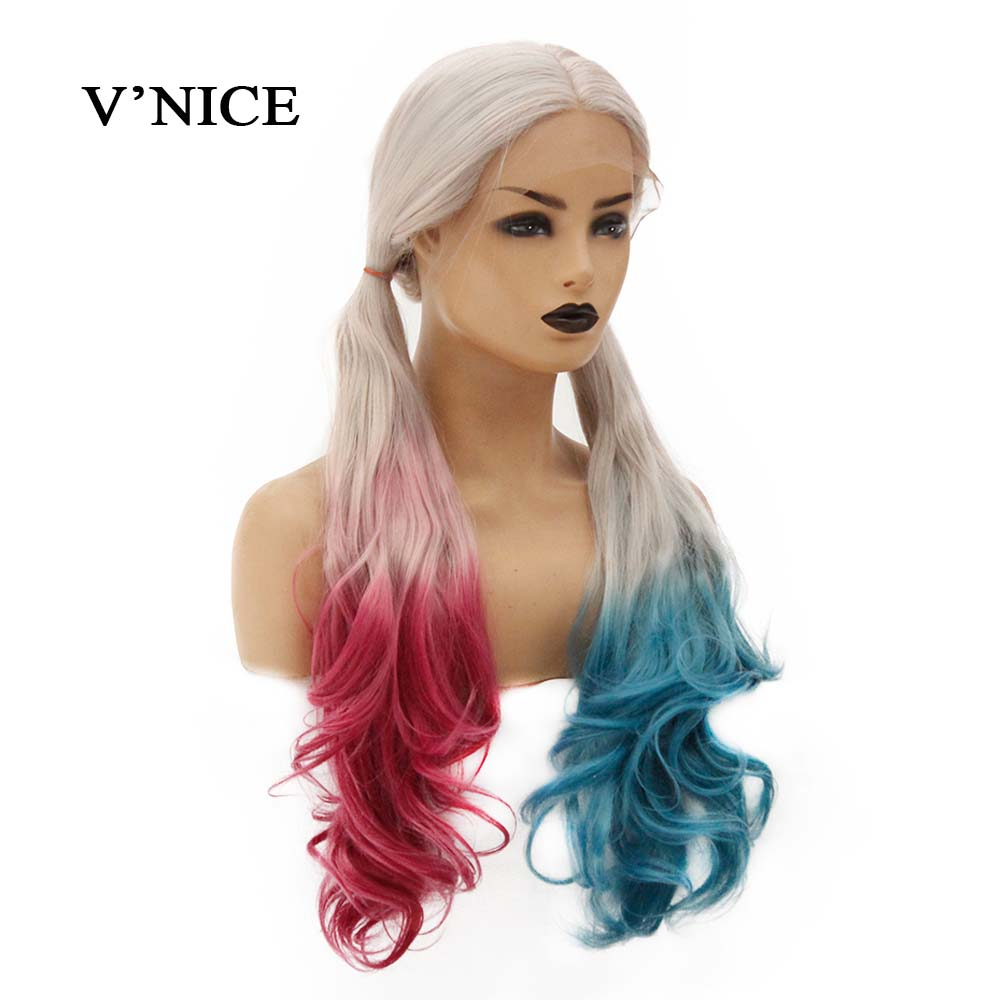 V'NICE Harley Quinn Color Synthetic Lace Front Wig 150% Density Heat Resistant Fiber Hair Long Wavy Wigs For Women Cosplay