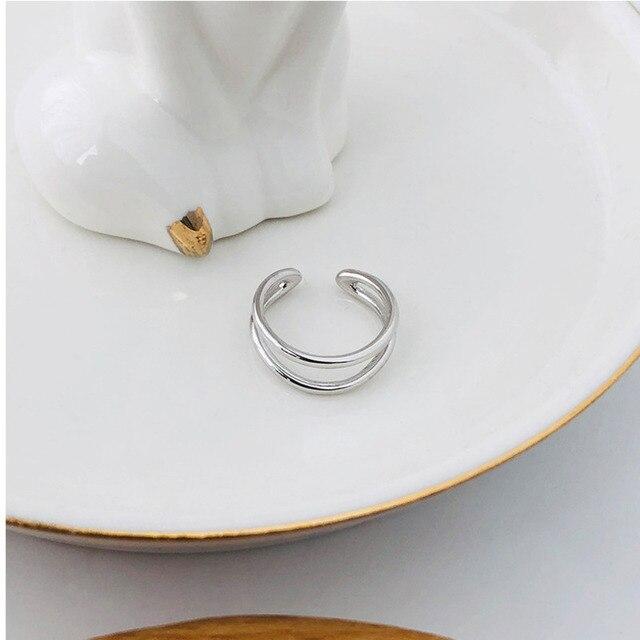 Фото женское открытое кольцо в корейском стиле серебряное двухслойное цена
