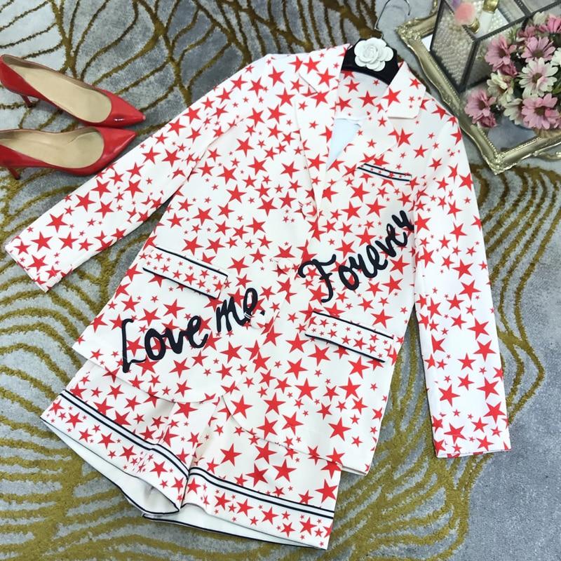 End Vintage Fashion 11.10 Elegant New Lapel Letter Beading Star Blazer Coat Or High Waist Print Shorts Set Women