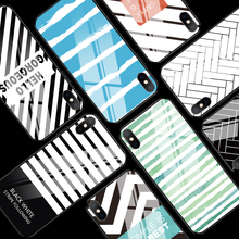 Stripe Grid Case For iPhone 11 X XR XS Max 11 Pro Max Black Slim Black Case For iPhone 6 6S 7 8 Plus Tempered Glass Back Cover new iphone case for iphone 11 for iphone11 pro max 5 8 inches 6 1 inches 6 8 inches 6 6s 7 8 plus ix xr max x fashion back cover