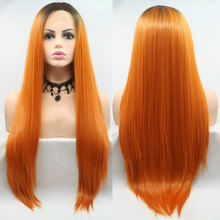 Wig Hair-Middle-Parting Heat-Resistant-Fiber Orange Lace-Front Glueless Black Bombshell
