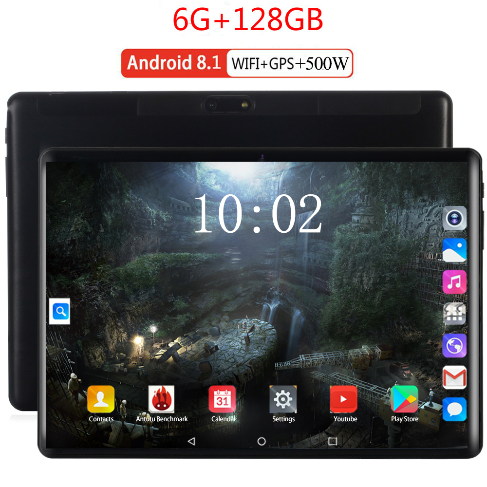 6G+128GB 10 Inch 4G Tablet PC Android 8.0 Octa Core Super Tablets Ram 6GB Rom 128GB WiFi GPS 10.1 Phone Tablet IPS Dual SIM GPS