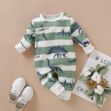 Baby Clothes Sets Infant Boy Girls Long Sleeve Dinosaur Striped Print Romper Jumpsuit