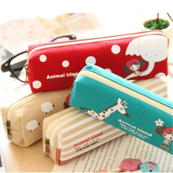 Creative Cartoon Pencil Case Kawaii Canvas Large Capacity Pen Bag Box Cute Retro Pencilcase School Stationary Supplies 050016