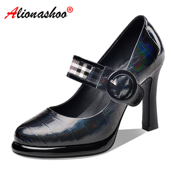 Women Genuine Leather Pumps Shoes Ankle Strap Women Office Shoes Round Toe Black Dress Shoes Ladies 2020 Spring size 34-43