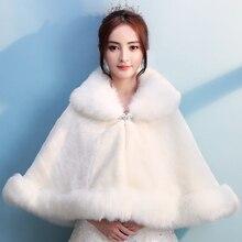 Winter Warm Wedding Bridal Faux Fur Rolled Cloak Lapel Formal Thicken Shrug Thermal Shawl for Lady Elegant Daily Dinner Cape