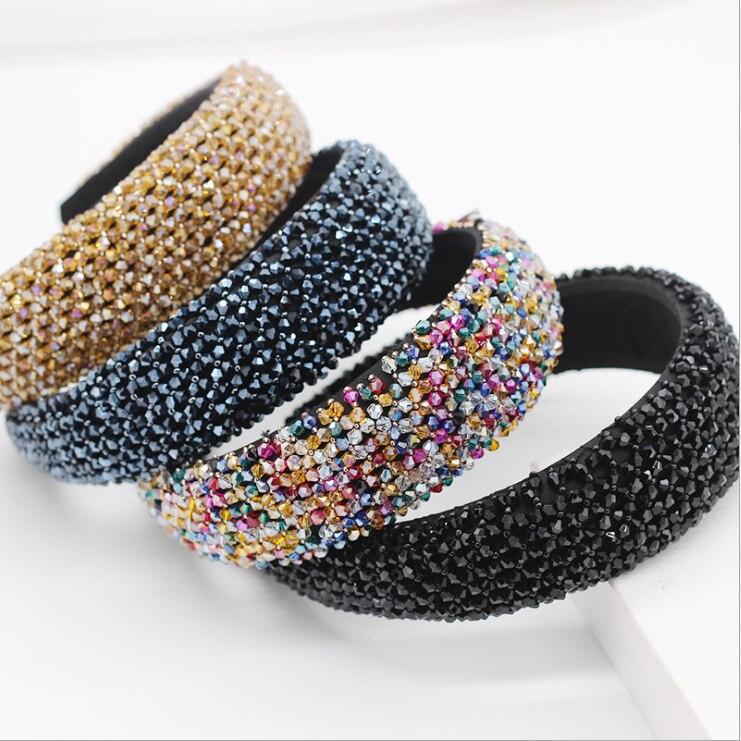 Moda e Bonita Esponja de Cristal Acessórios para o Cabelo Exagerada Malha Personalidade Senhoras Hairbands Baile Passarela Presente