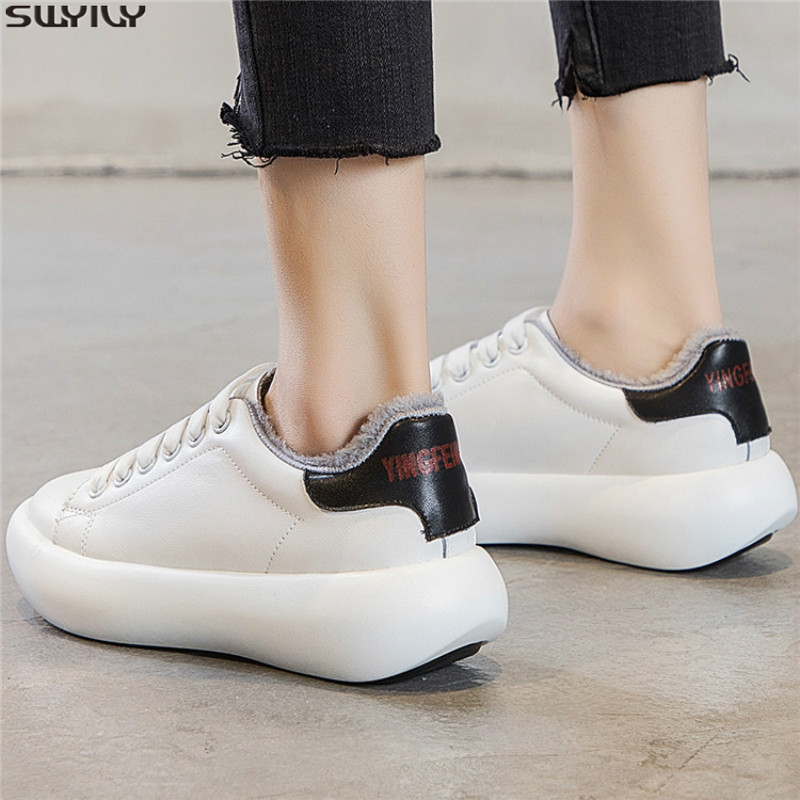 SWYIVY Genuine Leather Shoes Woman Spring Chunky Sneakers Women 2019 Winter Short Plush Solid Women Sneakers Shallow Ladies Shoe