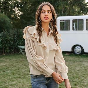 Image 3 - Simplee Vintage potargane kobiety bluzka koszula elegancki rękaw kloszowy guziki bluzki damskie koszule jesienno zimowa biurowa, damska bluzka