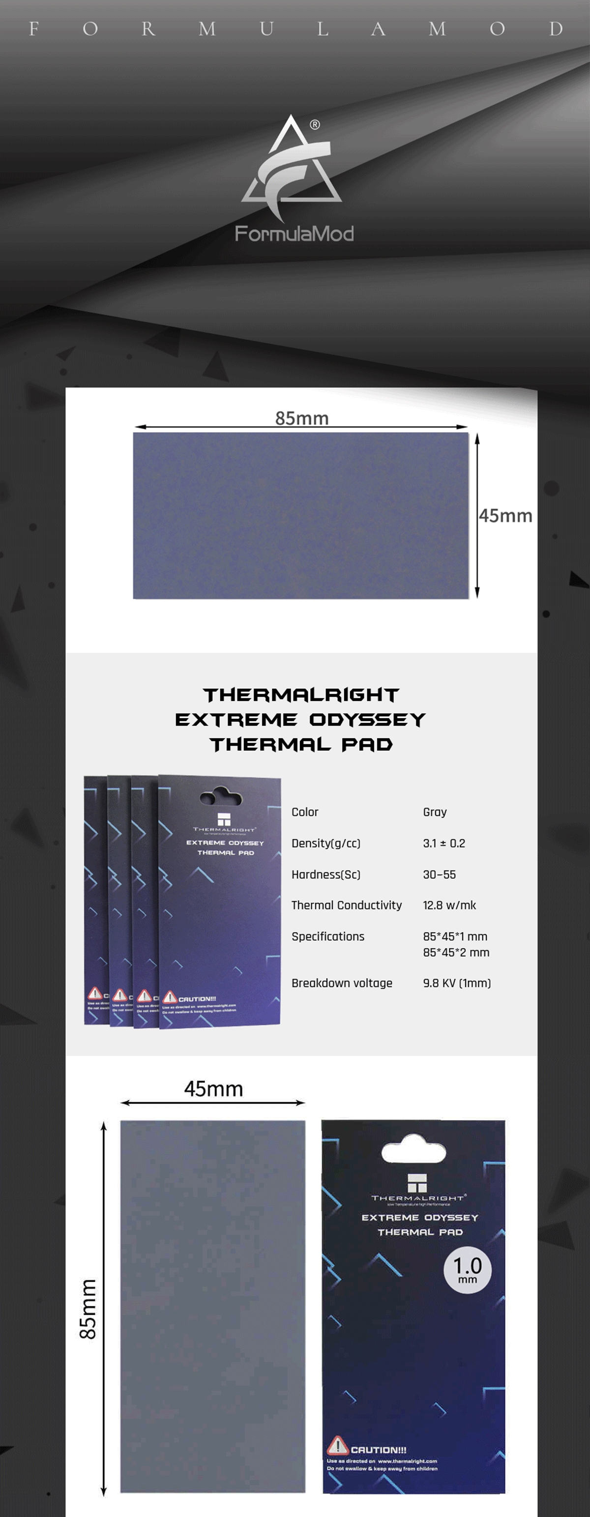 Thermalright Extreme Odyssey Thermal Pad 1/1.5/2mm 12.5W/mK Multifunction Insulation Pad For GPU/RAM/Motherborad/SSD etc. Circuit board