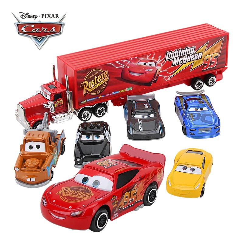 Juego de 7 unidades de coches de juguete de Disney Pixar Cars 3 Mack, tío Truck, Rayo McQueen, Jackson Storm 1:55, juguete de coche fundido a presión, regalo para niños