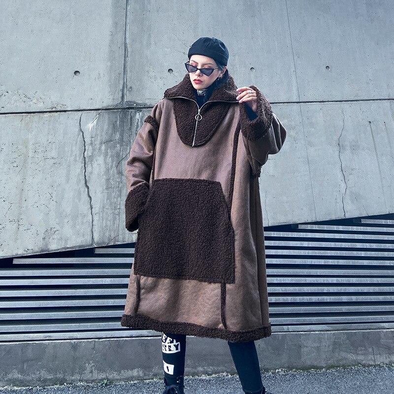 Женский Длинный пуловер из искусственного меха больших размеров, верхняя одежда, женская уличная куртка из овечьей шерсти с замшевой тканью, Толстая куртка с капюшоном в стиле панк