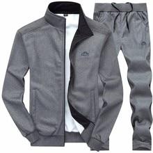 Outono treino dos homens do esporte da forma dos homens conjunto de duas peças zíper quente moletom jaqueta + sweatpants define roupas masculinas de fitness