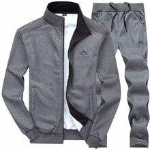 Sonbahar eşofman erkek spor moda erkek seti iki adet fermuar sıcak kazak ceket + Sweatpants setleri spor erkek giyim