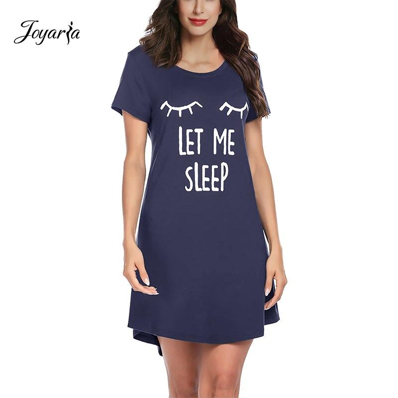 Joyaria Sexy Sleepwear Women Nightgown Comfy Sleep Shirt Soft Bamboo Sleep Dress Short Sleeve Casual Night Dress Loose Dress