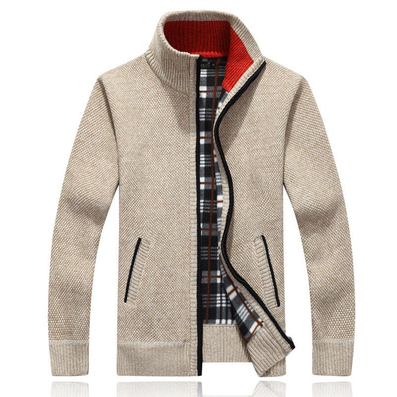 2019 Autumn Winter New Men  Knit Jacket Slim Version Standing Collar Zipper Cardigan Jacket Men's Solid Color Warm Cotton Jacket