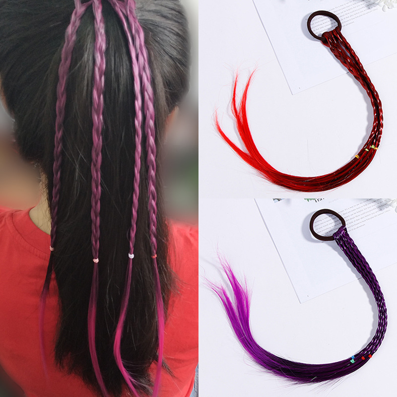 1PC New Simple Colorful Wigs Ponytail Girls Twist Braid Rope Beauty Elastic Hair Bands Rubber Band Kids Hair Accessories