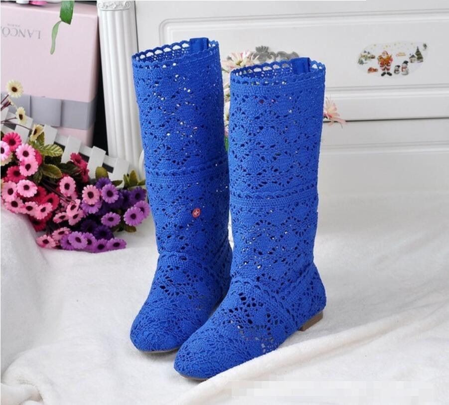2019 Hollow Boots Shoes Breathable Knit Line Mesh Boots Summer Women's Boots Knee High Tube Women's Shoes 34-41