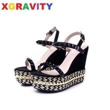 Lady Shoes Sandals Elegant Gold Wedge High-Heel Fashion Hot B284 Pearl Rivets-Design