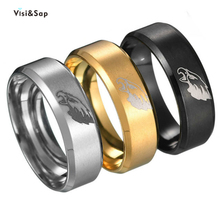 Visisap Eagle Commemorate Logo Stainless Steel Size 6-13 Rings for Man Dropshipping Yellow Gold Color Ring Manufacturer S-R177 visisap titanium steel wide men ring size 7 14 dropshipping yellow black steel gold color rings for birthday gifts jewelry s r35