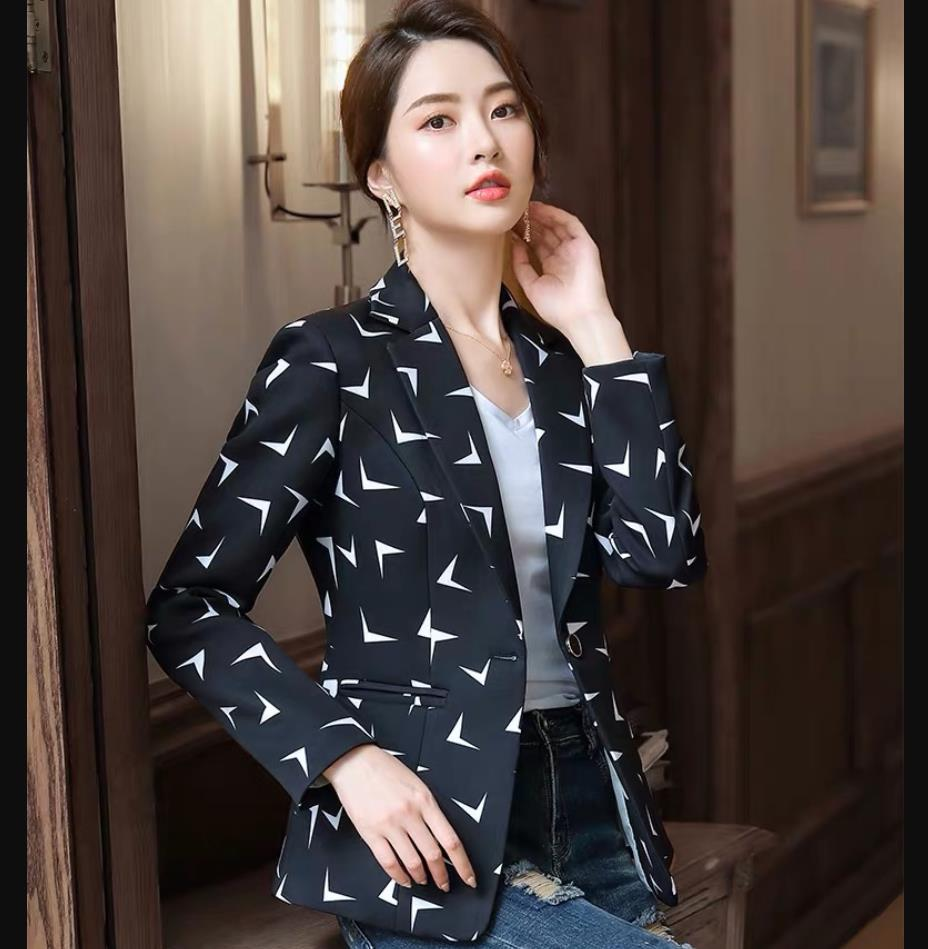 2020 Korean Women Elegant Blazer And Jackets Long Sleeve Slim Black White Geometric Print Office Lady One Button Formal Work
