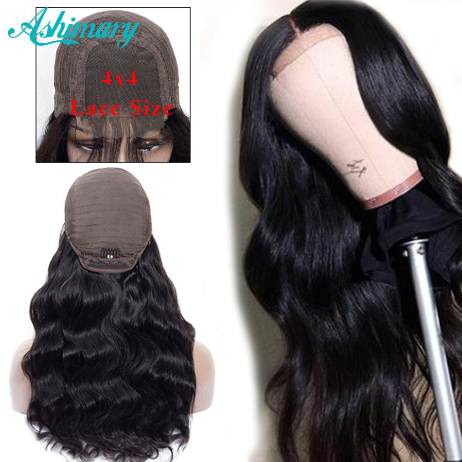 Ashimary Closure Wigs Human-Hair Pre-Plucked Lace Body-Wave Black Women Brazilian 180%Density