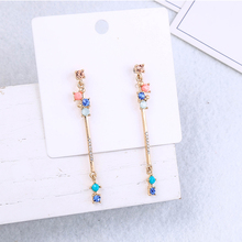 Vintage Gold Color Drop Earrings Colorful Epoxy Resin Crystal Tassel Earrings For Women Girl Gifts Fashion Jewelry Drop Shipping cheap Zinc Alloy ed02098d Water Drop TRENDY
