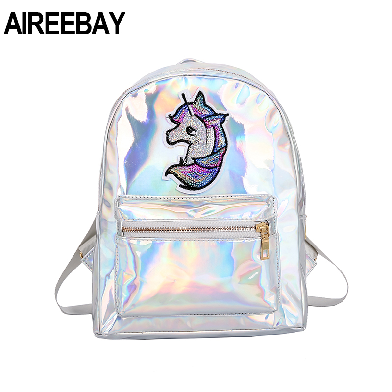 AIREEBAY Women Holographic Backpack Unicorn Sequin Patch Laser Women Rucksack Small Silver Pink Lady School Bag