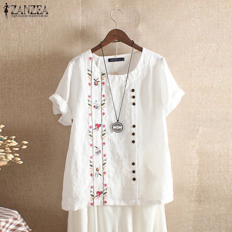 ZANZEA Summer Embroidery Short Sleeve Shirt Women Vintage Cotton Linen Blouse Female Bohemian Blusas Casual Tunic Tops Chemise