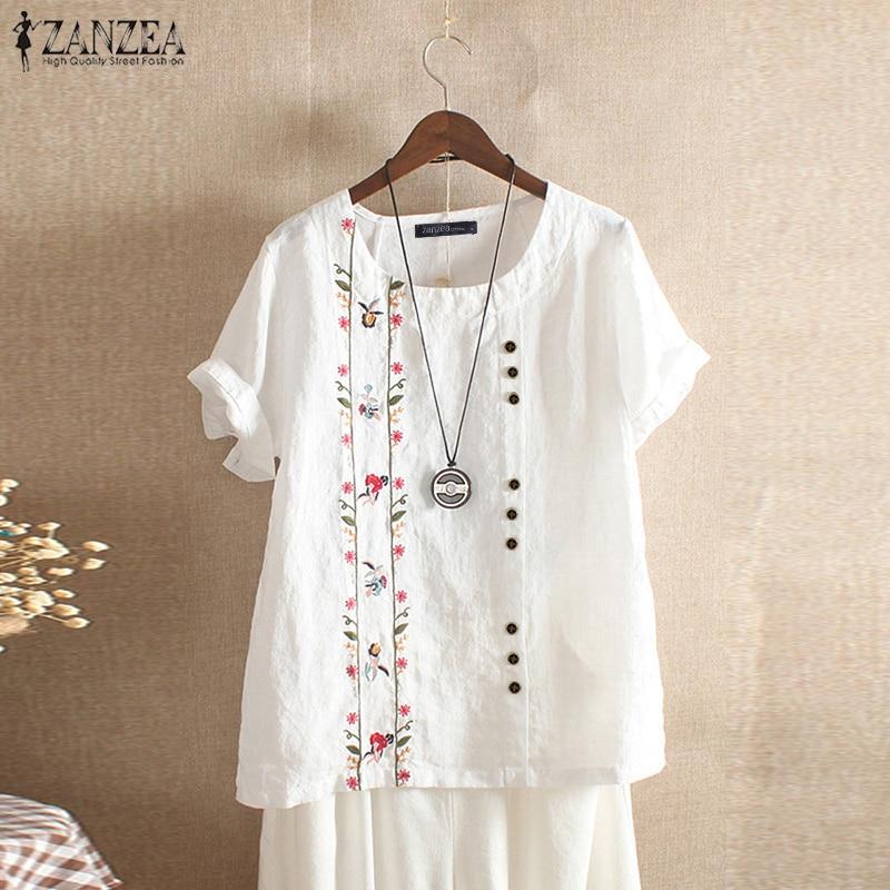 ZANZEA Summer Embroidery Short Sleeve Shirt Women Vintage Cotton Linen Blouse Female Bohemian Blusas Casual Tunic Tops Chemise