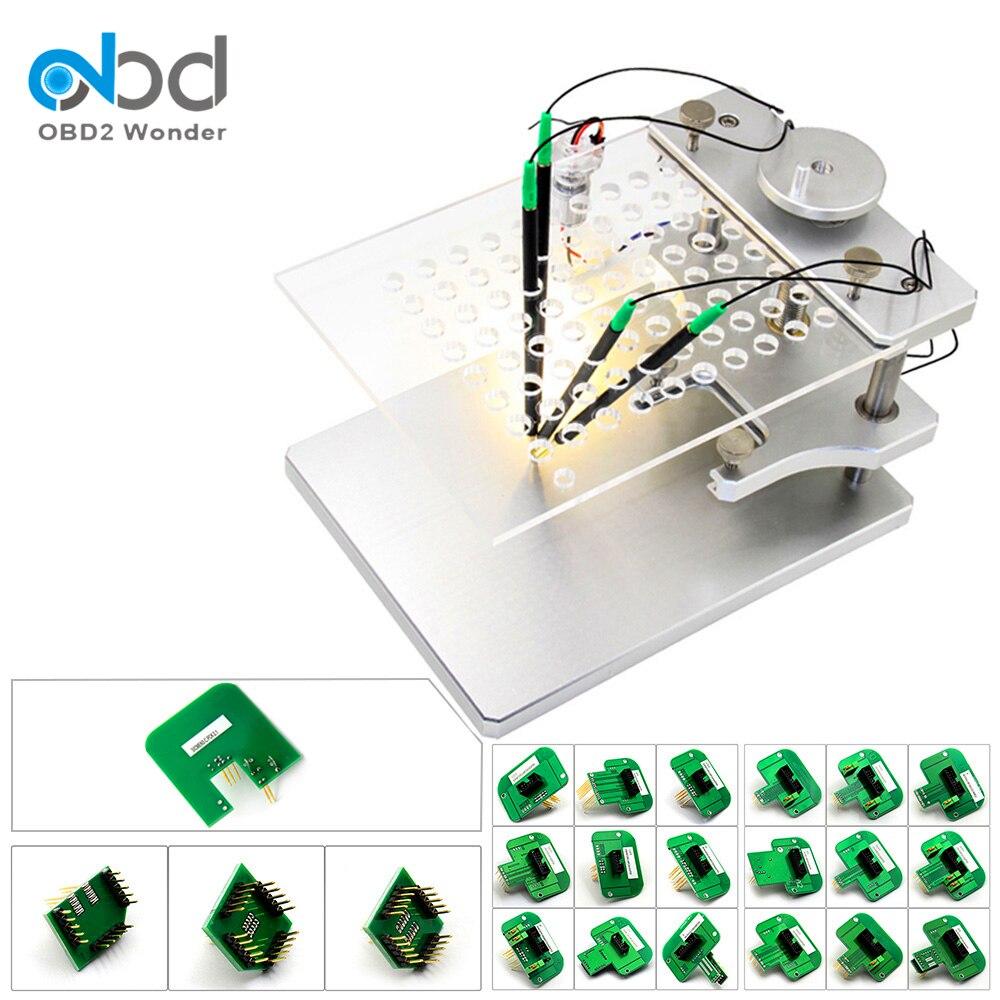 Telaio BDM a LED in acciaio inossidabile con 4 penne a sonda adattatori BDM 22 pezzi per KESS / BDM 100 / CDM100 / Fgtech Galletto V54