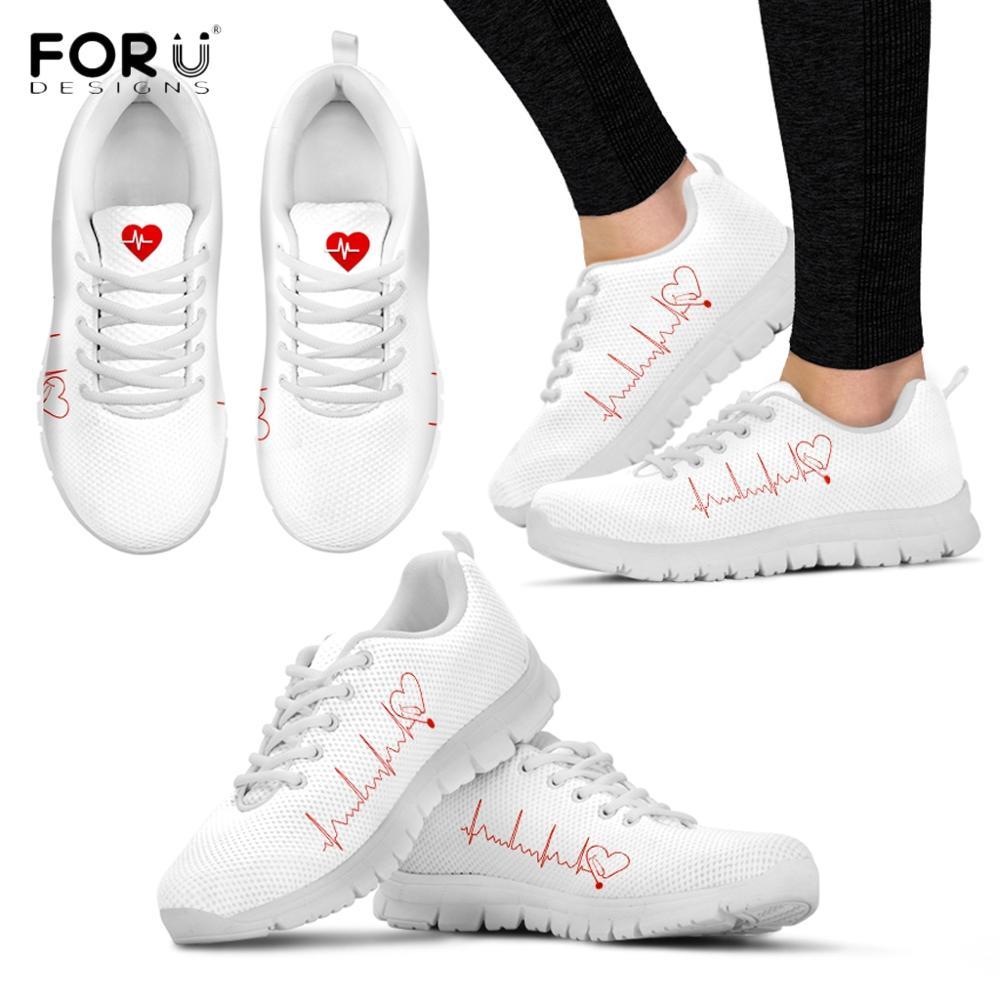 FORUDESIGNS Flats-Shoes Sneakers Nursing Stethoscope-Pattern Footwear Ladies Casual Summer