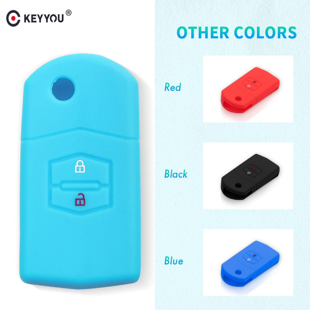 KEYYOU Silicone Cover CAR KEY COVER CASE HOLDER FOR 2 Button Flip Folding MAZDA 3 2 6 CX7 CX9 image