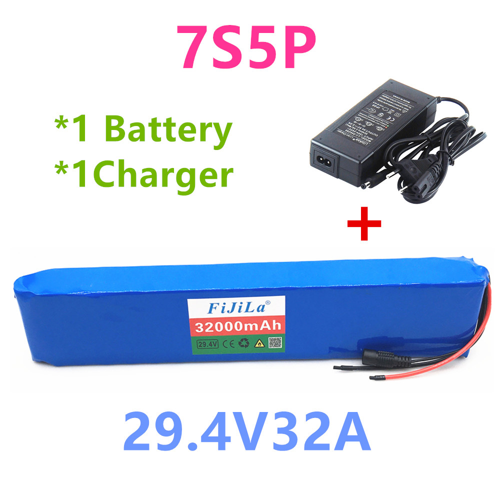 NEW 7S5P 29.4v 32Ah electric bike motor ebike scooter 24v Lithium ion battery pack <font><b>18650</b></font> rechargeable lithium batteries+Charger image