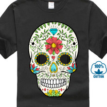 Mexican Skull 100% Cotton T Shirt For Men Short Sleeve Tops Shirt New Design Summer/Autumn Round Neck Clothing Shirt Design(China)