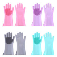 1 Pair Magic Silicone Cleaning Gloves Kitchen Dish Washing Multifunction Household Scrubber Rubber Dishwashing
