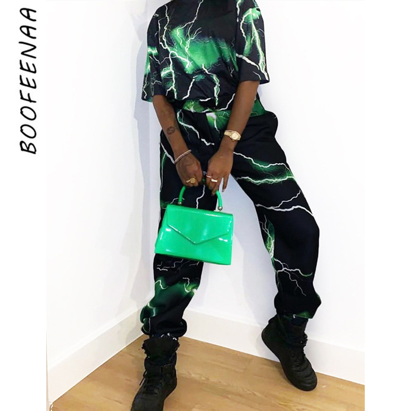 BOOFEENAA Green Lightning Print High Waist Sweatpants Casual Joggers Womens Bottoms 2019 Streetwear Loose Trousers C67-AD70