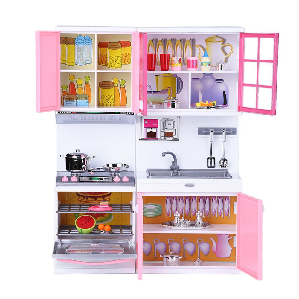 Mini Kids Kitchen Pretend Play Cooking Set Baby Puzzle Dolls Simulation Cookware Cupboard Cabinet Early Educational Toys