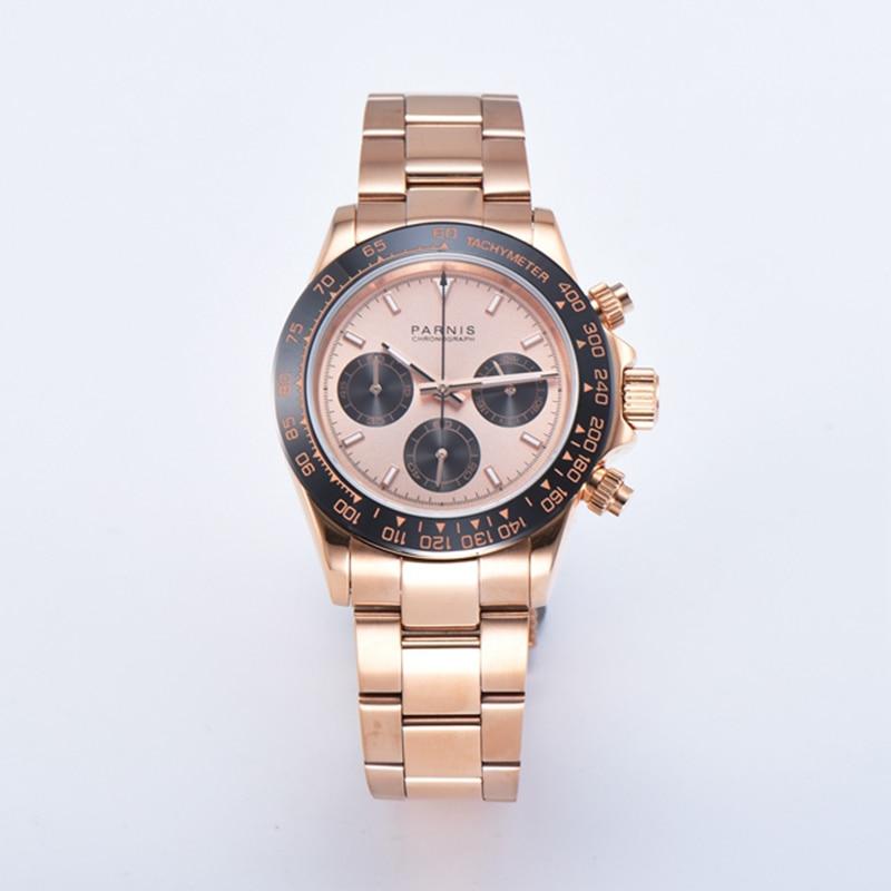 Parnis 39mm Quartz Chronograph Watch Men Brand Luxury Pilot Business Sport Luminous Waterproof Sapphire Crystal Wristwatch Men Quartz Watches     - title=
