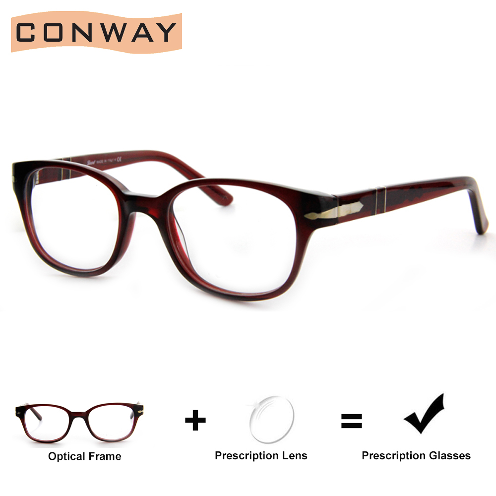 CONWAY Acetate Prescription Glasses Customized Glasses Single Vision Progressive Reading Lens Anti-Glare/Digital Block Coating